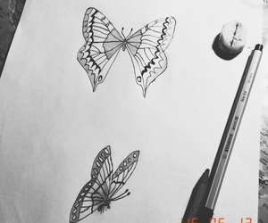 art, Paper, and butterflies image