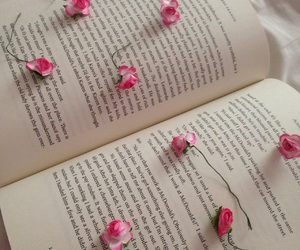black, book, and flowers image