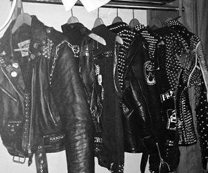 jacket, leather jacket, and metal image
