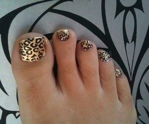 Gold Leaf, nail art, and black leopard image