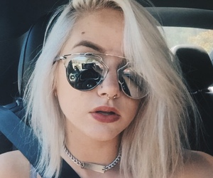 makeup, septum ring, and sunglasses image