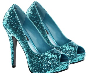 blue, high heels, and shoes image
