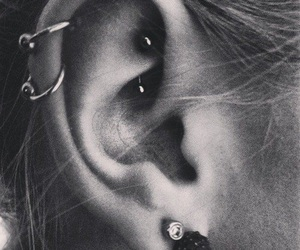 earrings, piercing, and cartilage image