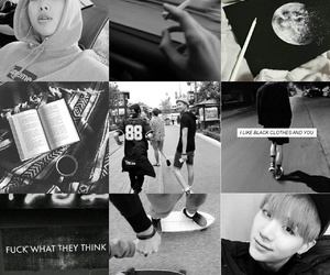 b&w, moodboard, and rapmonster image