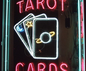 light, neon, and tarot image