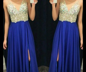blue, prom dress, and gold image