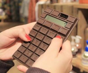calculator, chocolate, and cute image