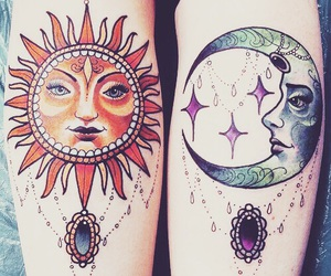 tattoo, sun, and moon image