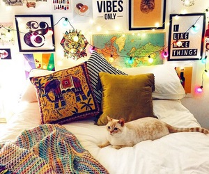 bedroom, cat, and pretty image