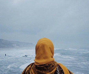 hijab, sea, and blue image
