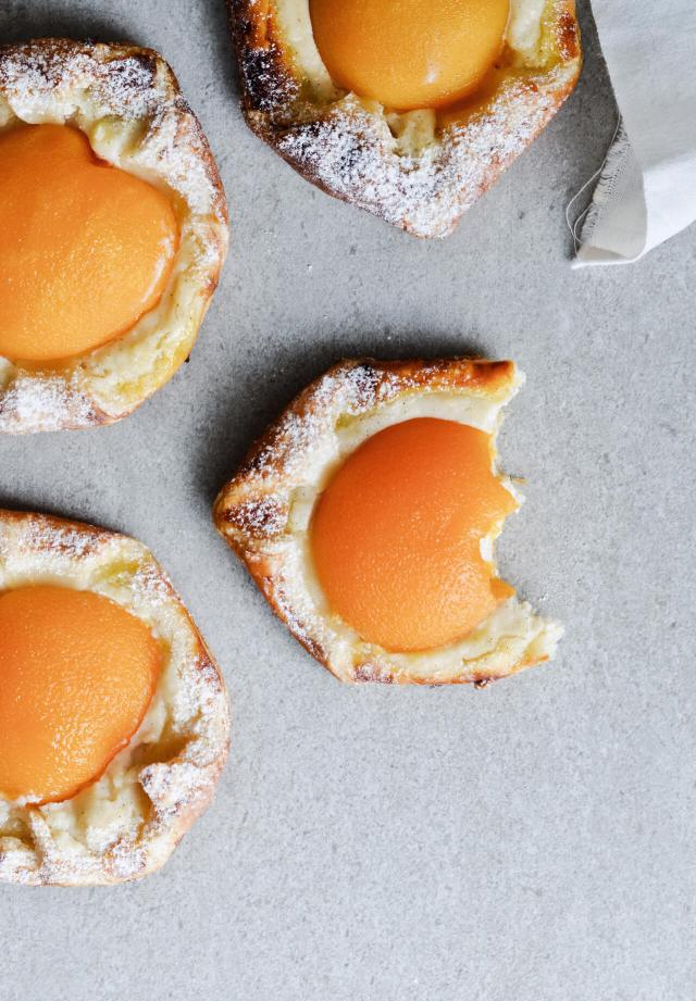 pastry, peach, and puff pastry image