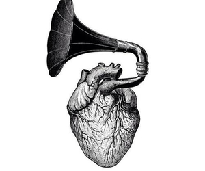 heart, black and white, and music image