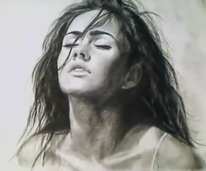 drawing, megan fox, and black and white image