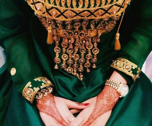 dress, green, and henna image