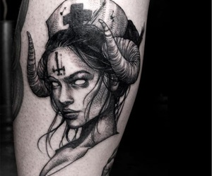 black, girl, and horns image