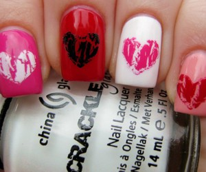 nails, heart, and nail polish image