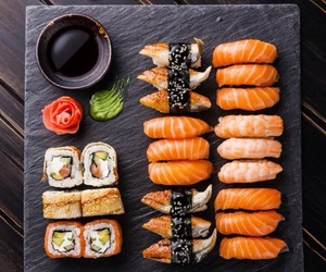 sushi, food, and fish image