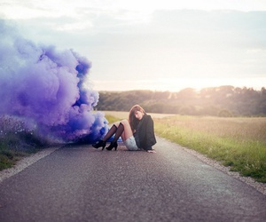 girl, purple, and road image