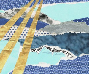 blue, sun rays, and Collage image