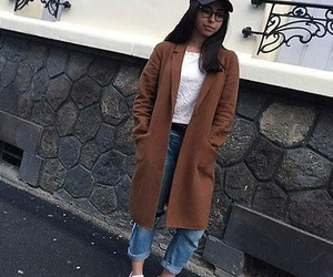 jeans, style, and long coat image