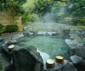 japan, travel, and hot spring image