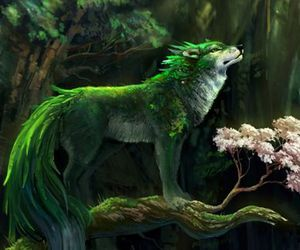 wolf, fantasy, and green image