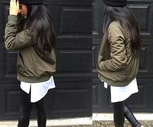straight black hair, timberland boots, and green bomber jacket image