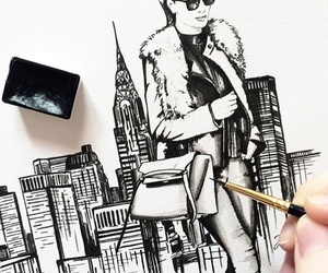 b&w, city, and drawing image