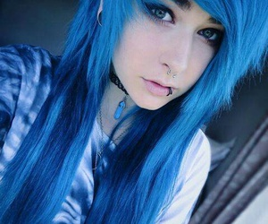 emo, blue, and hair image