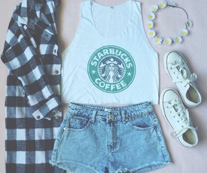 converse, starbucks, and denim shorts image