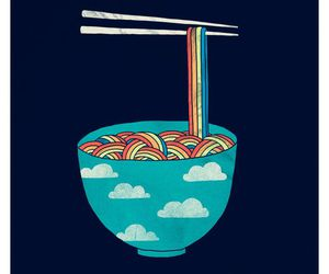 rainbow, food, and clouds image