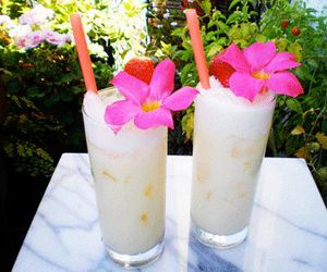 drink, flowers, and pina colada image
