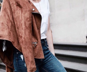 fashion, suede jacket, and jeans image