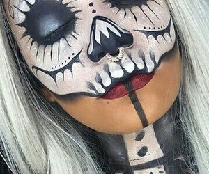 candy skull, day of the dead, and makeup image