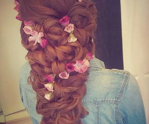 hairstyle, braid, and flowers image