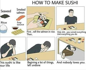 funny, sushi, and life image