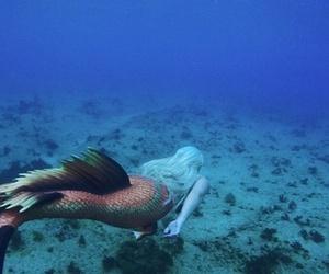 mermaid, sea, and girl image