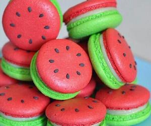 food, watermelon, and macarons image
