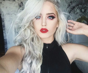 red lips, macy kate, and haïr image