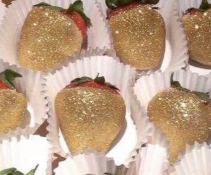 food, gold, and strawberry image