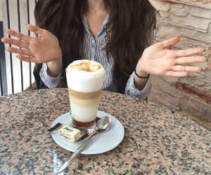 blouse, coffee, and girl image