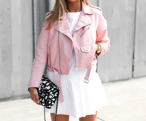 chanel, leather jacket, and outfit image