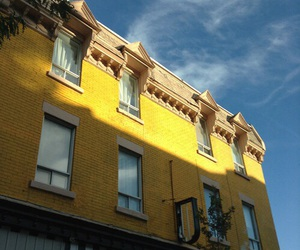 yellow, blue, and building image