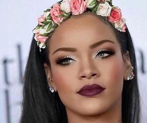 rihanna, makeup, and flowers image