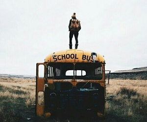 school, grunge, and school bus image