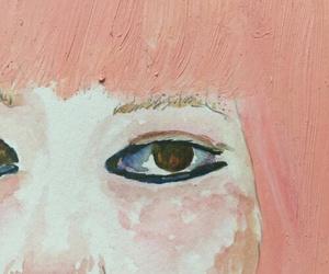 art, pink, and eyes image