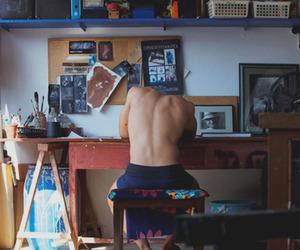boy, art, and back image