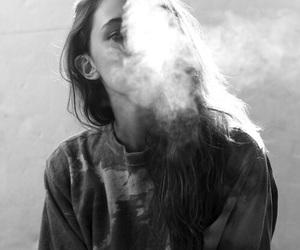 girl, smoke, and black and white image