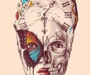 art, butterfly, and clock image