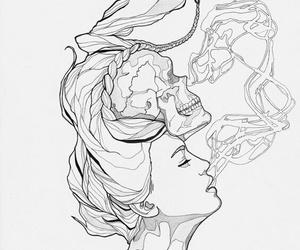 art, draw, and skull image